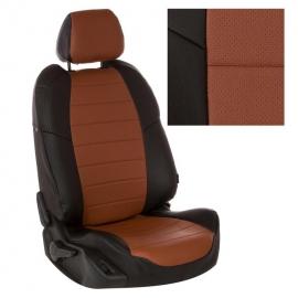 Авточехлы Экокожа Черный + Коричневый для Hyundai Solaris I Hb / KIA Rio III Hb с 10-17г.
