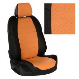 Авточехлы Экокожа Черный + Оранжевый для Hyundai Solaris I Hb / KIA Rio III Hb с 10-17г.