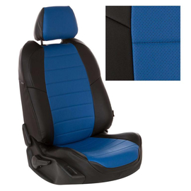 Авточехлы Экокожа Черный + Синий для Hyundai Solaris I Hb / KIA Rio III Hb с 10-17г.