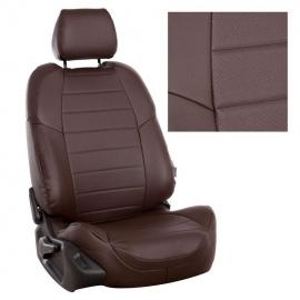 Авточехлы Экокожа Шоколад + Шоколад для Hyundai Solaris I Sd / KIA Rio III Sd (40/60) с 10-17г.