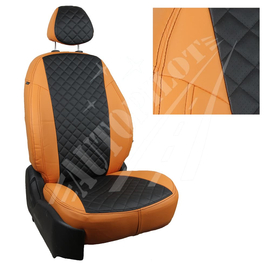 Авточехлы Ромб Оранжевый + Черный для Hyundai Solaris I Sd / KIA Rio III Sd (40/60) с 10-17г.