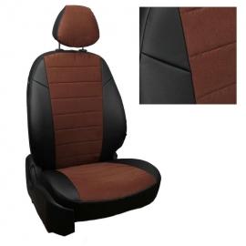 Авточехлы Алькантара Черный + Шоколад для KIA Ceed III с 18г. (три отдельных спинки) комплектация Prestige