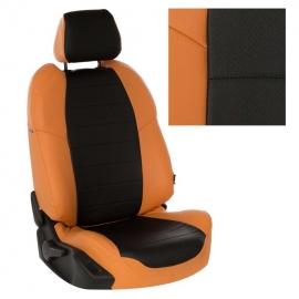 Авточехлы Экокожа Оранжевый + Черный для LADA Granta Sd/Hb / Datsun on-Do (сплошная)