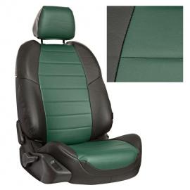 Авточехлы Экокожа Черный + Зеленый для LADA Granta Sd/Hb / Kalina Cross / Datsun on-Do / mi-Do (40/60)