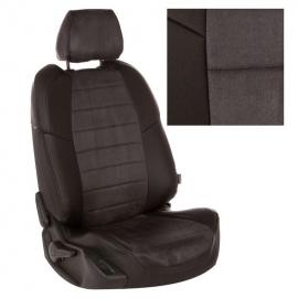 Авточехлы Алькантара Черный + Темно-серый для LADA XRAY Cross (пассажирская спинка складывается)