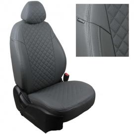 Авточехлы Ромб Серый + Серый для Land Rover Discovery III 04-09г. (три отдельных кресла)