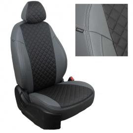 Авточехлы Ромб Серый + Черный для Land Rover Discovery III 04-09г. (три отдельных кресла)