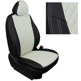 Авточехлы Ромб Черный + Белый для LADA XRAY Cross (пассажирская спинка складывается)