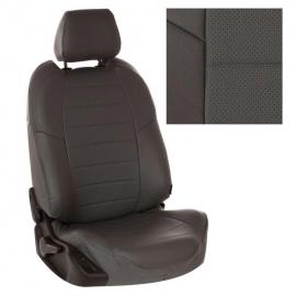 Авточехлы Экокожа Темно-серый + Темно-серый для Land Rover Discovery III 04-09г. (три отдельных кресла)
