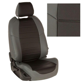Авточехлы Экокожа Серый + Черный для Mazda CX-5 (три отд. кресла) Touring, Active, Supreme с 11-17г.