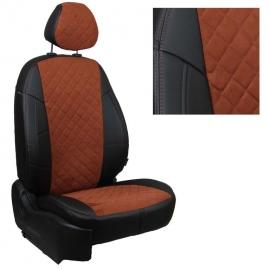 Авточехлы Алькантара ромб Черный + Коричневый для Volkswagen Tiguan II comfortline/highline (со столиками) c 17г.