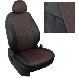 Авточехлы Ромб Черный + Шоколад для Volkswagen Touareg I (за водителем 40%) с 02-10г.