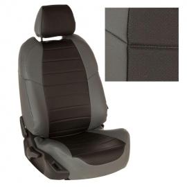 Авточехлы Экокожа Серый + Черный для Volkswagen Touareg I рестайл. (за водителем 60%) с 07-10г.