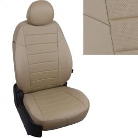 Авточехлы Экокожа Темно-бежевый + Темно-бежевый для Volkswagen Tiguan II trendline (без столиков) c 17г.
