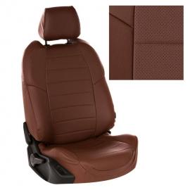 Авточехлы Экокожа Темно-коричневый + Темно-коричневый для Volkswagen Touareg I рестайл. (за водителем 60%) с 07-10г.