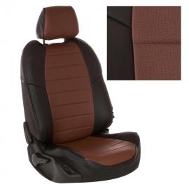 Авточехлы Экокожа Черный + Темно-коричневый для Volkswagen Touareg I рестайл. (за водителем 60%) с 07-10г.
