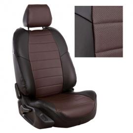 Авточехлы Экокожа Черный + Шоколад для Volkswagen Touareg I рестайл. (за водителем 60%) с 07-10г.